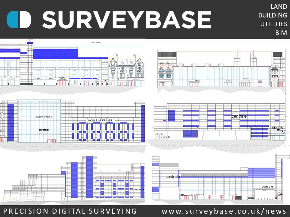 Measured Building Survey Of Elevations Of Centrale Shopping Centre, Croydon, London